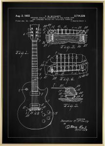 Lagervaror egen produktion Patenttekening - Elektrische gitaar I - Zwart Poster