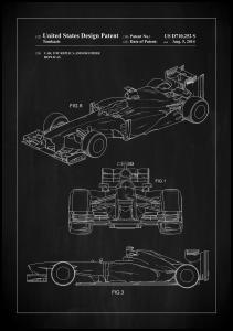 Lagervaror egen produktion Patent Print - Formula 1 Racing Car - Black Poster