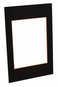 Passepartouter Måttbeställda Passe-partout Zwart (Oranje kern) - Op maat gemaakt
