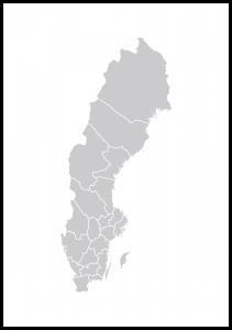 Bildverkstad Kaart van Zweden Grijs Poster