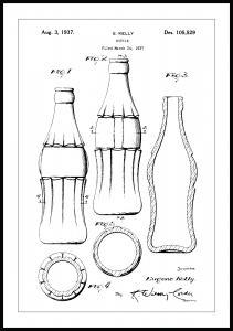 Lagervaror egen produktion Patenttekening - Coca Colafles Poster