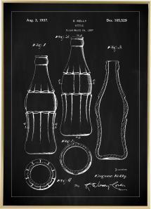 Bildverkstad Patenttekening - Coca Colafles - Zwart Poster