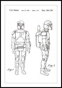 Lagervaror egen produktion Patenttekening - Star Wars - Boba Fett - Wit Poster