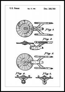 Lagervaror egen produktion Patenttekening - Star Trek - USS Enterprise Poster