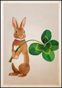 Bildverkstad Rabbit with clover Poster