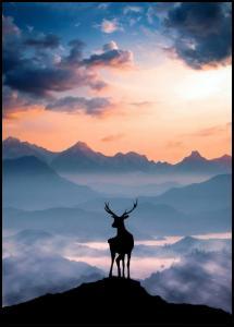 Bildverkstad Heavenly Blue Deer Poster