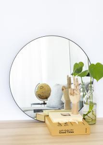 HN - KAILA KAILA Round Mirror - Thin Black 60 cm Ø