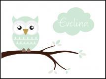 Personlig poster Owl Name Poster Light Green