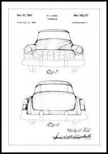 Bildverkstad Patenttekening - Cadillac I Poster
