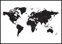 Lagervaror egen produktion Wereldkaart - Zwart Poster