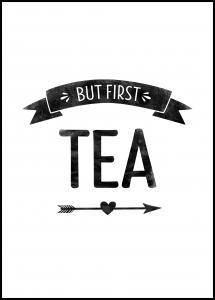 Bildverkstad But first tea Retro Poster