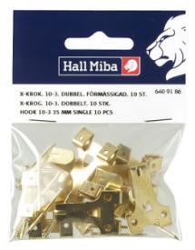 X-haak 10-3, 35 mm dubbel smeedijzer 10-pack