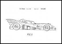 Bildverkstad Patenttekening - Batman - Batmobile 1990 III Poster