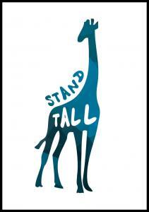 Bildverkstad Giraffe stand tall - Blue Poster