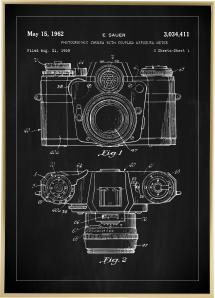 Lagervaror egen produktion Patenttekening - Camera I - Zwart Poster
