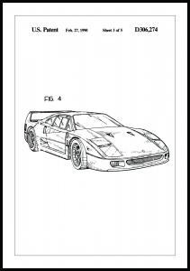 Bildverkstad Patenttekening - Ferrari F40 II Poster