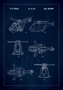 Bildverkstad Patent Print - Lego Helicopter - Blue Poster