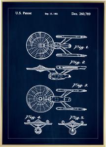 Bildverkstad Patenttekening - Star Trek - USS Enterprise - Blauw Poster