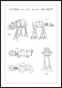 Lagervaror egen produktion Patenttekening - Star Wars - Walker - Wit Poster