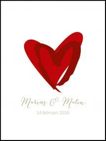 Personlig poster Love Weddingposter Red