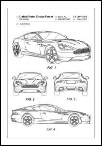 Bildverkstad Patent Print - Aston Martin - White Poster