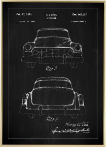 Bildverkstad Patenttekening - Cadillac II - Zwart Poster