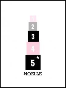 Personlig poster Blokken pink