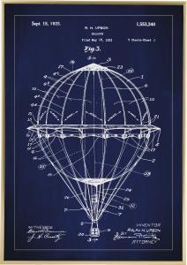 Lagervaror egen produktion Patenttekening - Luchtballon - Blauw Poster
