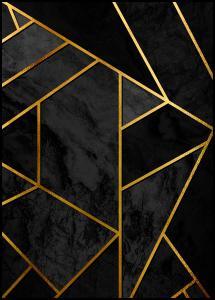 Lagervaror egen produktion Gold & Black Marble Poster