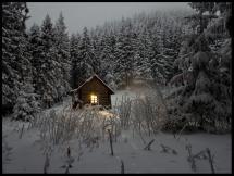 Lagervaror egen produktion Huisje in de winter Poster