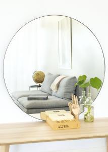 HN - KAILA KAILA Round Mirror - Thin Black 100 cm Ø