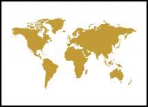 Bildverkstad Wereldkaart Goud Poster