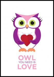 Bildverkstad Owl You need is love - Pink-Purple Poster