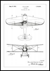 Lagervaror egen produktion Patenttekening - Vliegtuig - Wit Poster