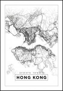 Bildverkstad Map - Hong Kong - White Poster