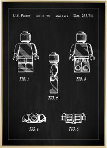 Lagervaror egen produktion Patenttekening - Lego I - Zwart Poster