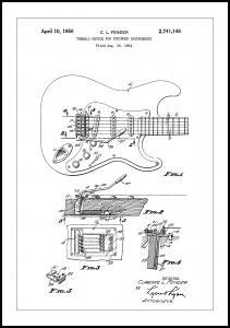 Bildverkstad Patent Print - Tremolo Device - White Poster