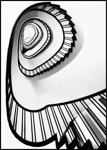 Bildverkstad Spiral stairs BW Poster
