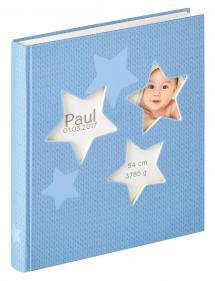 Walther Estrella Babyalbum Blauw - 28x30,5 cm (50 Witte pagina's / 25 bladen)