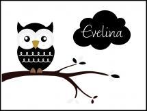 Personlig poster Owl Name Poster Black