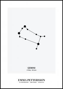 Personlig poster Gemini - Star Signs