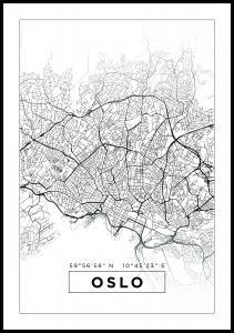 Bildverkstad Map - Oslo - White Poster