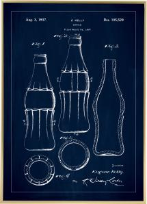 Bildverkstad Patenttekening - Coca Colafles - Blauw Poster
