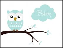 Personlig poster Owl Name Poster Turquoise